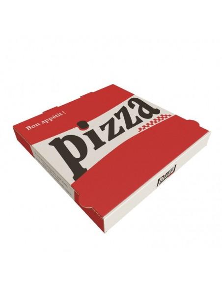 Boîte à pizza Red City, décor rouge, blanc et noir sur carton kraft blanc. Emballage carton robuste.