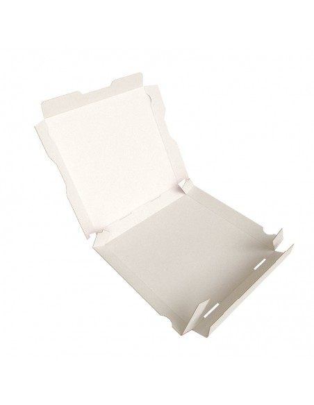 Boîte à pizza Red City, décor rouge, blanc et noir sur carton kraft blanc. Emballage carton robuste. Pliage Facile.