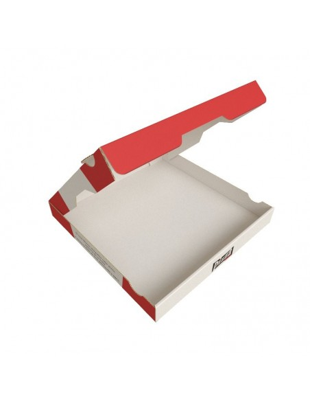 Boîte à pizza Red City, décor rouge, blanc et noir sur carton kraft blanc. Emballage carton robuste. Couvercle ouvert.