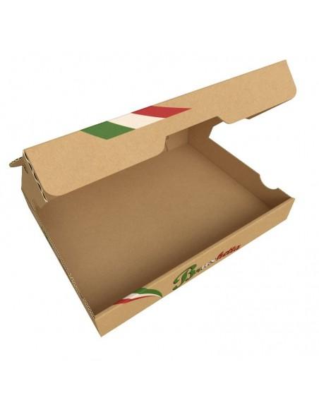 Boîte à bruschetta, tartine italienne, garnies de produits frais, en livraison ou a emporter. Ouverture facile.