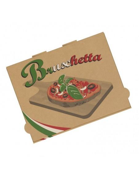 Boîte à bruschetta, tartine italienne, garnies de produits frais, chaude ou froide, en livraison ou a emporter.
