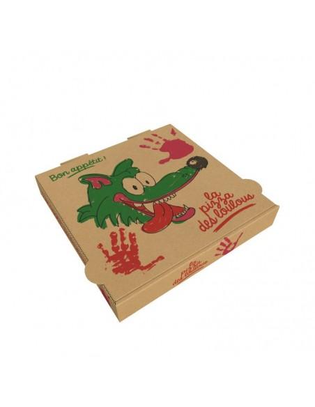 """Boîte à pizza enfant """"La Pizza des Loulous"""". Diamètre 20 cm, hauteur 4 cm pour menu enfant."""