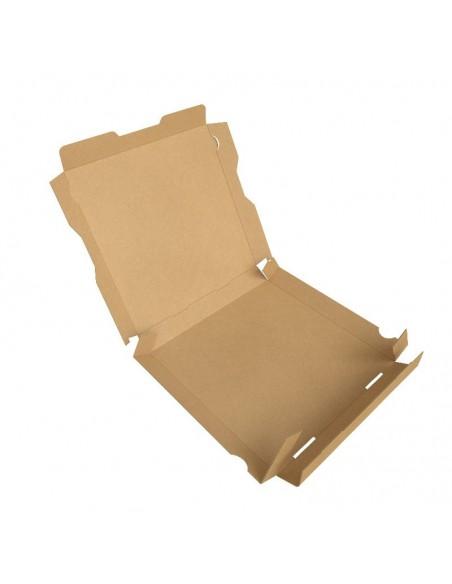 """Boîte à pizza en carton kraft brun """"Pizza is Always a Good Idea"""", hauteur 3,5 cm, Pliage facile."""