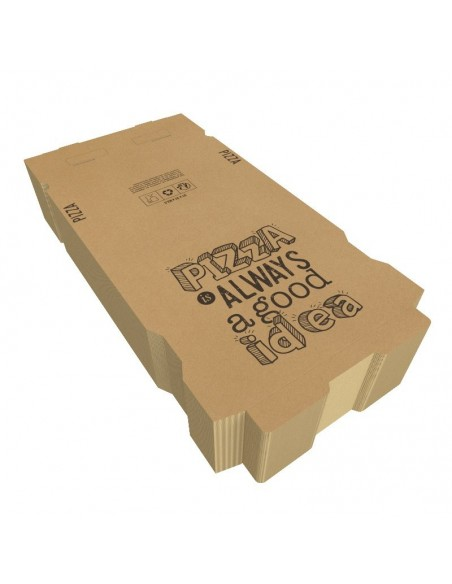 """Boîte à pizza en carton kraft brun """"Pizza is Always a Good Idea"""", hauteur 3,5 cm, Colisage par 100 unités."""