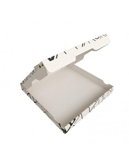 Boite à pizza design ART DECO en kraft blanc, résistance élevée. Ouverture sur le dessus.