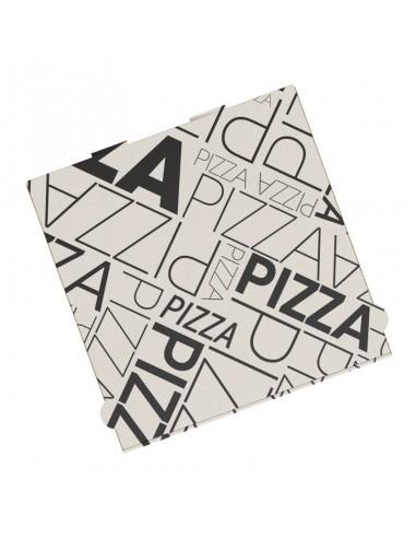 Boite à pizza design ART DECO en kraft blanc, résistance élevée pour la livraison des pizza et la vente à emporter.